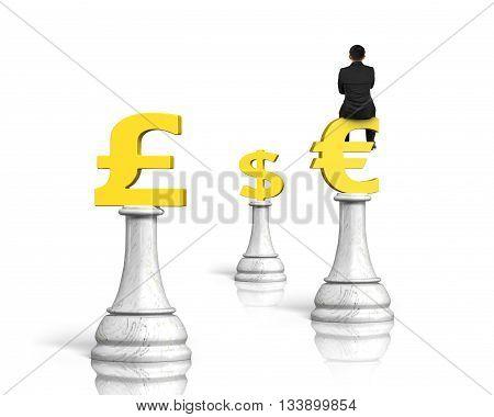 Man Sitting On Euro Symbol Of Money Chess,3D Rendering