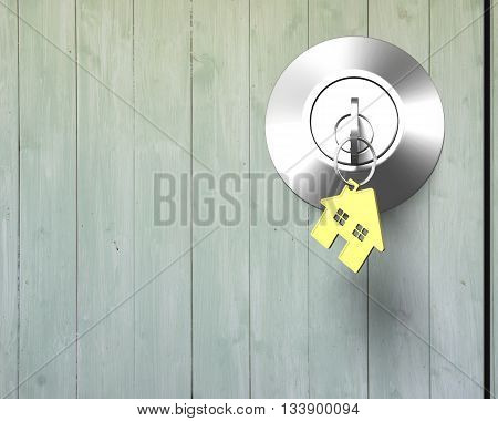 Key With House Shape Key-ring On Lock Old Wooden Door,3D Rendering
