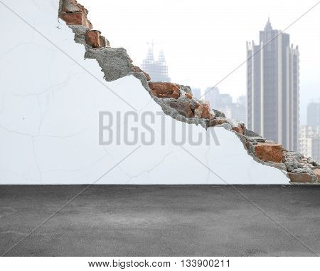 White Crack Bricks Wall With City Building Background And Concrete Floor