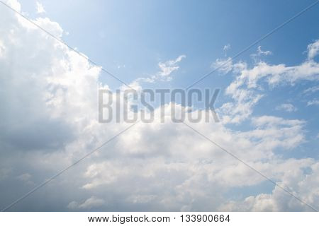 clouds in the blue sky, sky is covered by white clouds and raincloud.