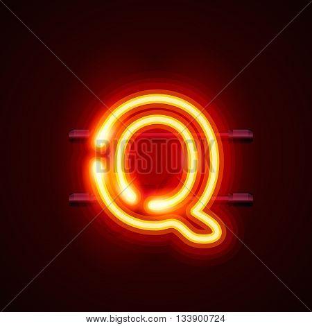 Neon font letter q, art design. Vector illustration