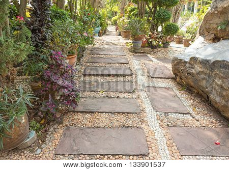 stone walkway in backyard. stone walkway in garden