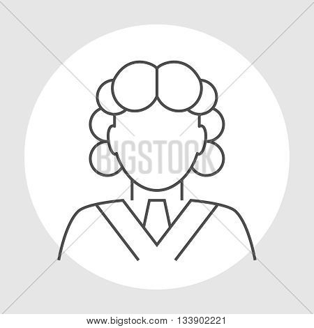 Judge avatar line icon. Judge in a wig