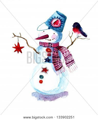 Hand painted Christmas background with snowman and bullfinch isolated on white. Watercolor raster illustration