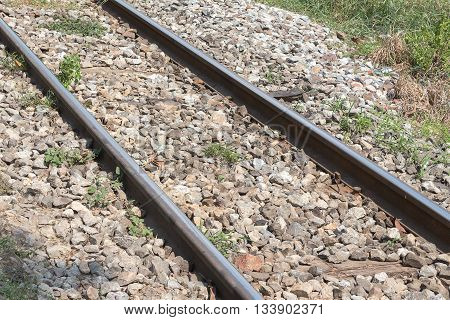 railway tracks ,It is classical railway.(select focus front railway tracks)