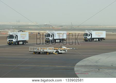 ABU DHABI, UAE - MARCH 10, 2015: Machines of the airline