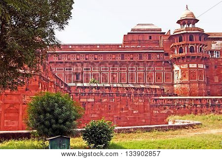 Part of famous Agra Fort in Agra, India