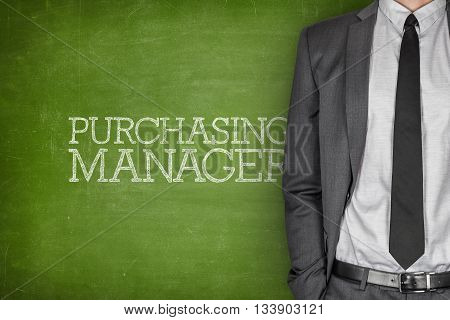 Purchasing manager on blackboard with businessman in a suit on side