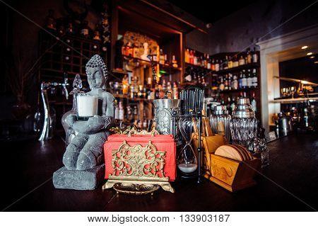 Photo of stylish big bar counter buddha style