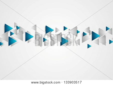 Hi-tech blue grey corporate vector background with triangles