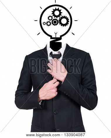 businessman and light bulb head on gray background