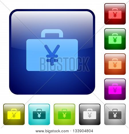 Set of yen bag color glass rounded square buttons