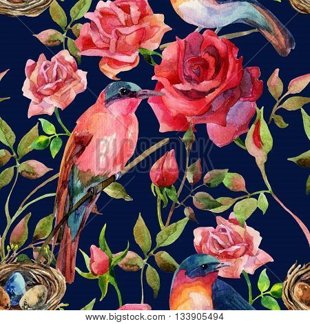 Watercolor birds on the pink and red roses. Hand painted seamless pattern on vivid blue background