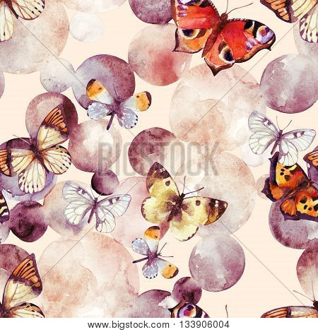 Abstract watercolor circles and butterfly. Bubbles and butterflies seamless pattern in pastel colors. Hand painted illustration in retro style for your design