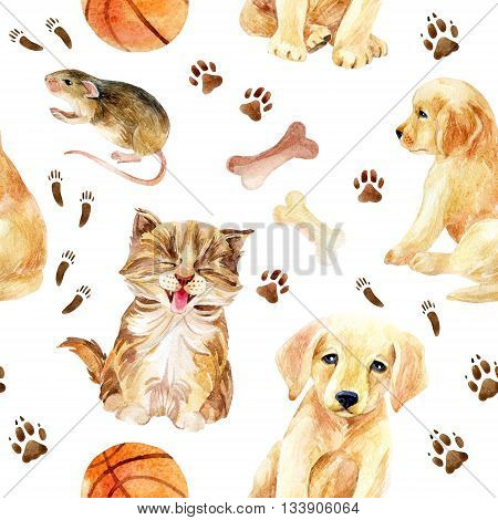 Kitten puppy and mouse seamless pattern. Cute cat dog and mouse with their footprints and toys. Hand painted watercolor illustration.