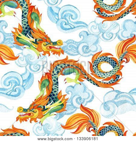 Chinese Dragon seamless pattern. Traditional symbol of dragon. Watercolor hand painted illustration.