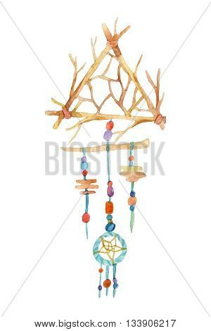 Dreamcatcher with colorful beads and gems. Watercolor ethnic dreamcatcher. Hand painted illustration for your design