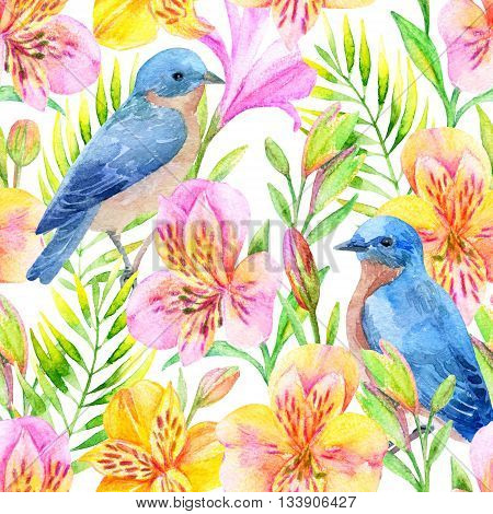 Watercolor alstroemeria flowers with bluebirds on white background. Hand painted seamless pattern.