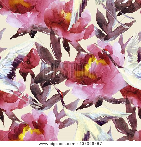 Peony and crane bird seamless pattern. Peonies and crane birds on pastel background. Hand painted watercolor illustration in asian style