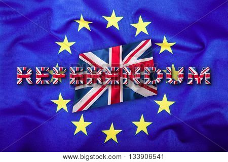 Referendum. Brexit. Flags of the United Kingdom and the European Union. UK Flag and EU Flag. British Union Jack flag. Flag outside inside stars. England appearances in the European Union.