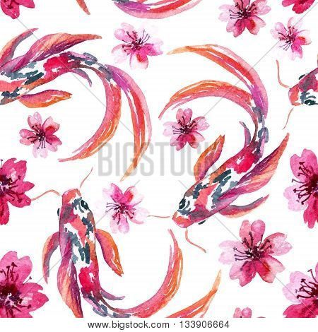 Watercolor koi fishes with flowers. Asian seamless pattern. Hand painted illustration on white background