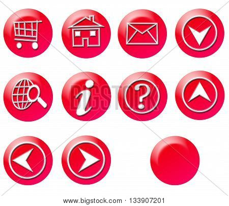 Red Circle Simple Gradient Website Icon Series