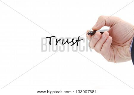 Trust text concept isolated over white background