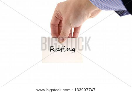 Ratings text concept isolated over white background