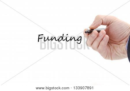 Funding text concept isolated over white background