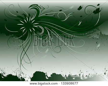 Curly pattern of flowers and petals on the green background