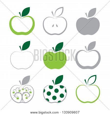 Set Of Apple Icon Isolated On White Background