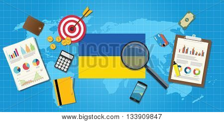 ukraine economy economic condition country with graph chart and finance tools vector graphic illustration