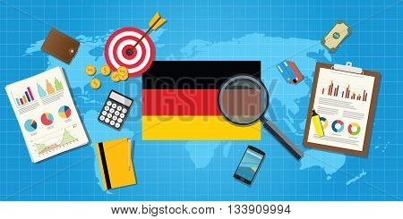germany economy economic condition country with graph chart and finance tools vector graphic illustration