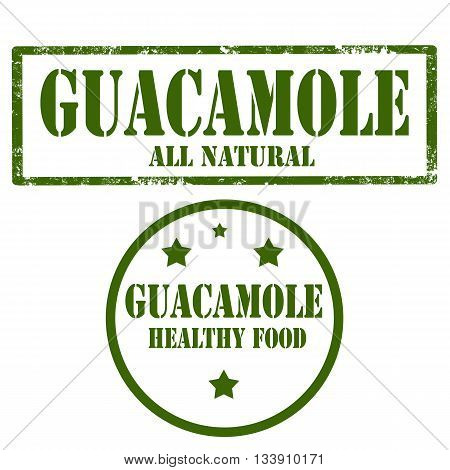 Set of stamps with text Guacamole,vector illustration