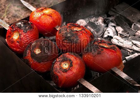 Grilled vegetables, barbeque. Tomatoes. Good for vegetarian.
