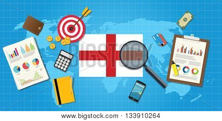 england economy economic condition country with graph chart and finance tools vector graphic illustration