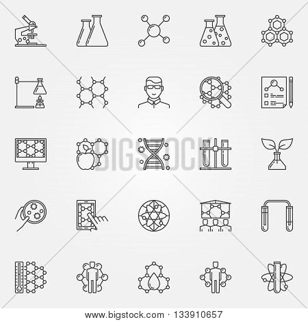 Biotechnology icons set - vector collection of bio technology and science concept signs in thin line style. Genetic engineering linear symbols