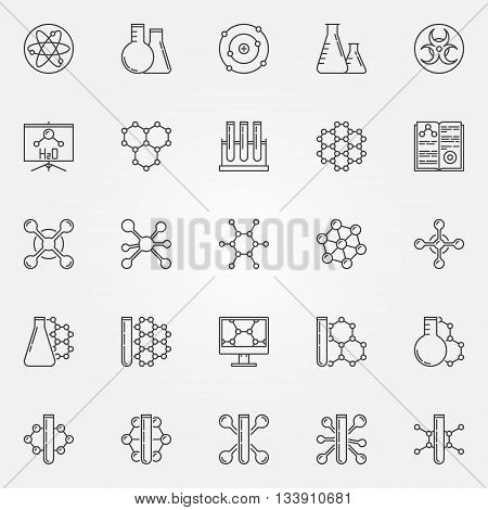Chemistry line icons set - vector science linear symbols. Chemical and chemistry pictograms or logo elements in thin line style