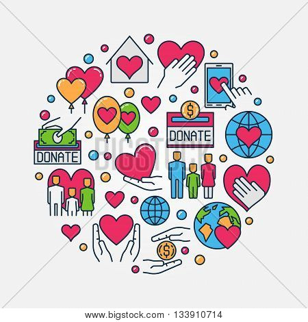 Donation flat illustration. Vector round support and care colorful symbol. Donate money or charity design concept