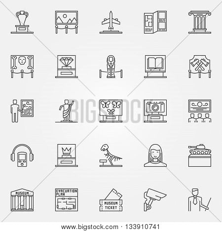 Museum icons set - vector linear fine art objects symbols. Thin line museum and exhibition signs collection
