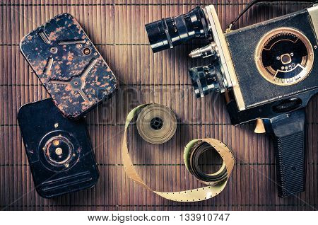 The old two-handed camcorder tapes and film in vintage style