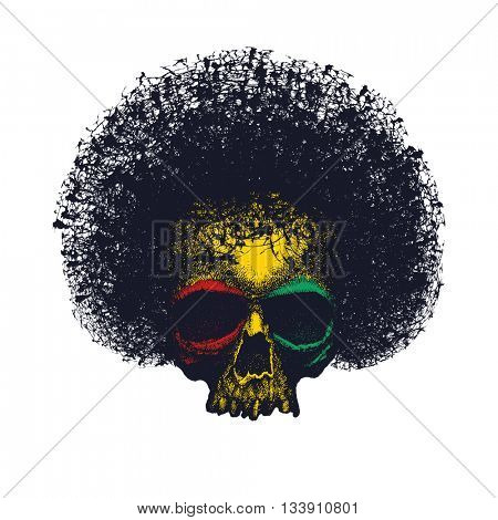 Skull reggae graphic design vector illustration.