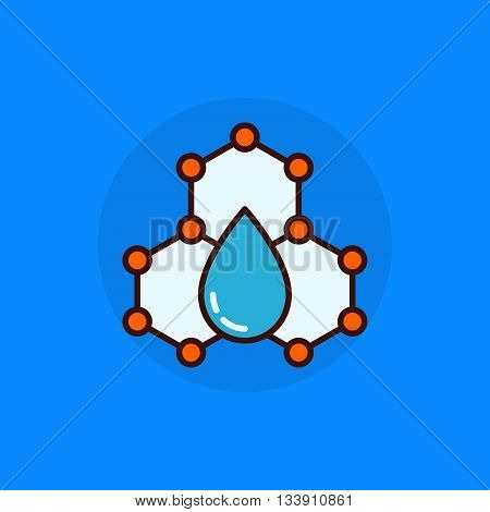 Water molecule flat concept icon. Vector molecule with water dot colorful abstract symbol or logo element