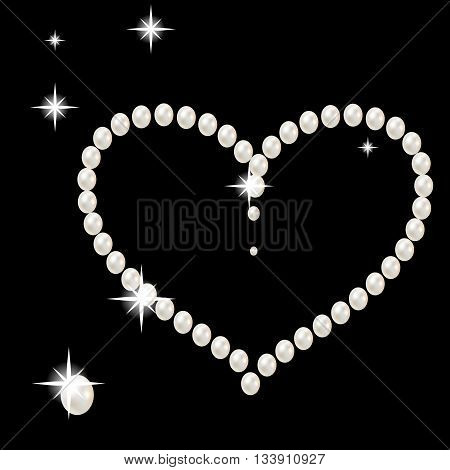 Heart with large beautiful pink pearls and stars romantic on black background