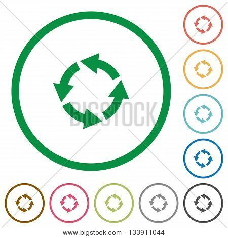 Set of Rotate left color round outlined flat icons on white background