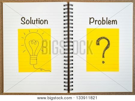 Business concept - Problem and Solution - Problem solving - hand writing light bulb and question mark on yellow paper on notebook