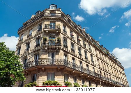 Beautiful old building seen in Paris, France