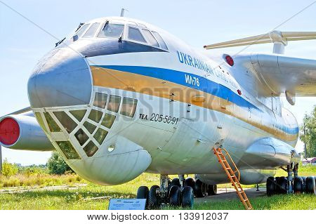 KYIV, UKRAINE -JULY, 29 2006: Ilyushin-Il 76 aircraft at Zhuliany State Aviation Museum in Kyiv, Ukraine. Zhuliany State Aviation Museum is the largest aviation museum in Ukraine