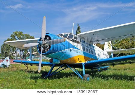 KYIV, UKRAINE -JULY, 29 2006:Antonov AN-2 aircraft at Zhuliany State Aviation Museum in Kyiv, Ukraine. Zhuliany State Aviation Museum is the largest aviation museum in Ukraine