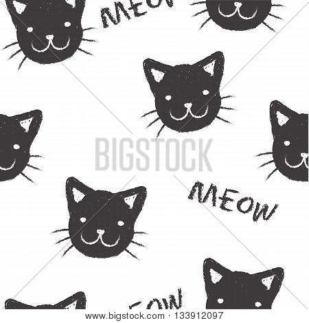 Seamless pattern with hand-drawn muzzles kitten and the inscription Meow